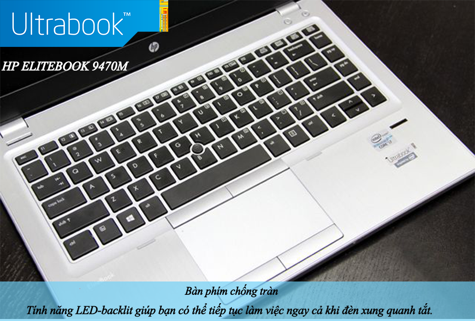Laptop HP Elitebook Folio 9470M  Core i7- 3667U,8GB RAM, 128GB SSD, Intel HD Graphics 4000.